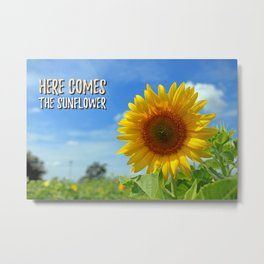 Sunflower decor,Beatles art,Song Lyric,Home Decor,Printable Canvas,inspirational quote Metal Print