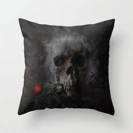 Skull with Rose Throw Pillow