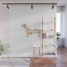 Dachshund - Watercolor/Floral Wall Mural