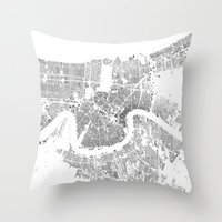new orleans Throw Pillows featuring NEW ORLEANS by Maps Factory