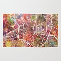 madrid Area & Throw Rugs featuring Madrid by MapMapMaps.Watercolors