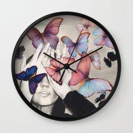 Rainbow Butterfly Art Wall Clock
