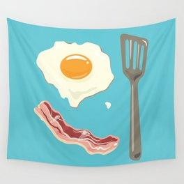 bacon & eggs, blue Wall Tapestry