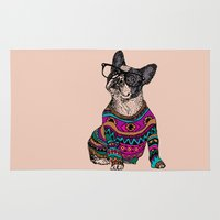 frenchie Area & Throw Rugs featuring hipster frenchie by Huebucket