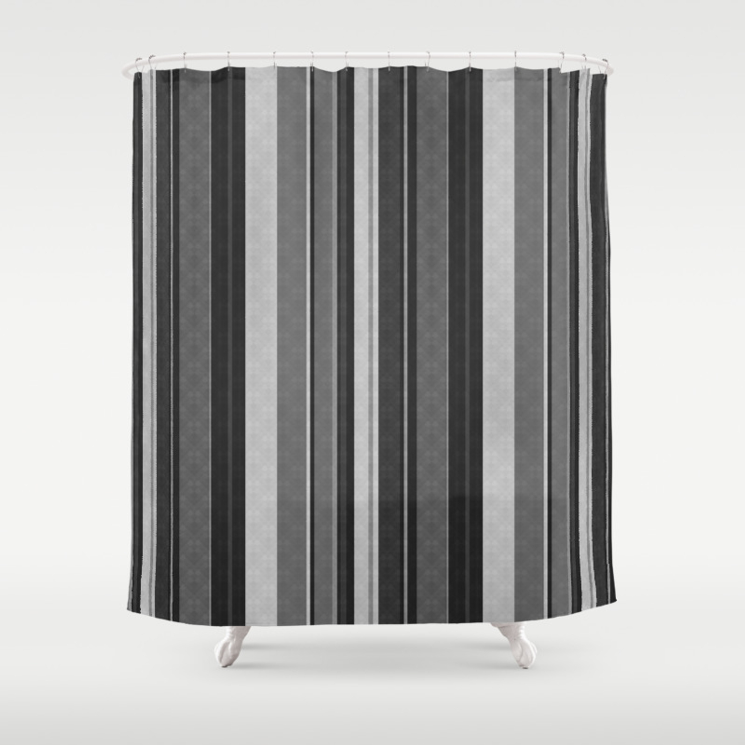 Grey Black Vertical Stripes Shower Curtain By Art In Life Society6