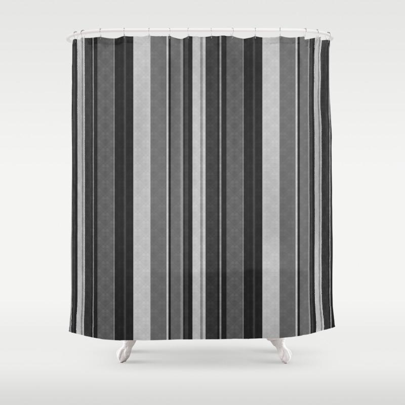 Grey Black Vertical Stripes Shower Curtain