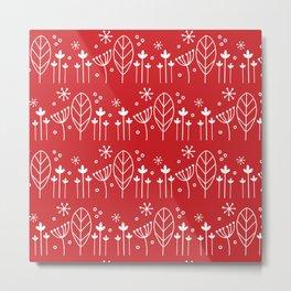 Scandi Floral in Red repeat pattern Metal Print