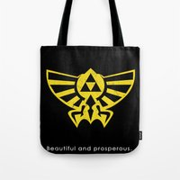 hyrule Tote Bags featuring Hyrule Hero by Head Glitch