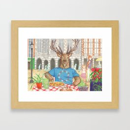 Everyday Animals - Mr Stag eats his lunch Framed Art Print