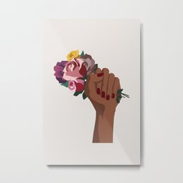 Girl Power with flowers Metal Print