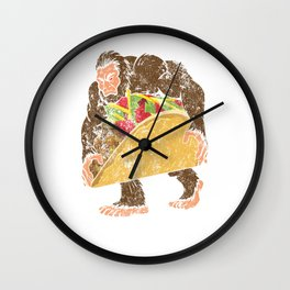 """Bigfoot With A Taco Funny Distressed Cinco De Mayo T-Shirt "" Wall Clock"
