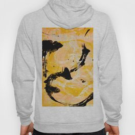 Sunflower Fields: A vibrant abstract contemporary design in yellow black and white by Alyssa Hamilton Art Hoody