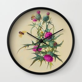 Wild Thistle & Bees Botanical Print 1800s Wall Clock