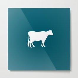 Cow: Blue, Dark Teal Metal Print