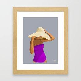 At the Beach: Purple suit Framed Art Print