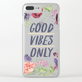 Wreath Good Vibes Only with purple flowers Clear iPhone Case