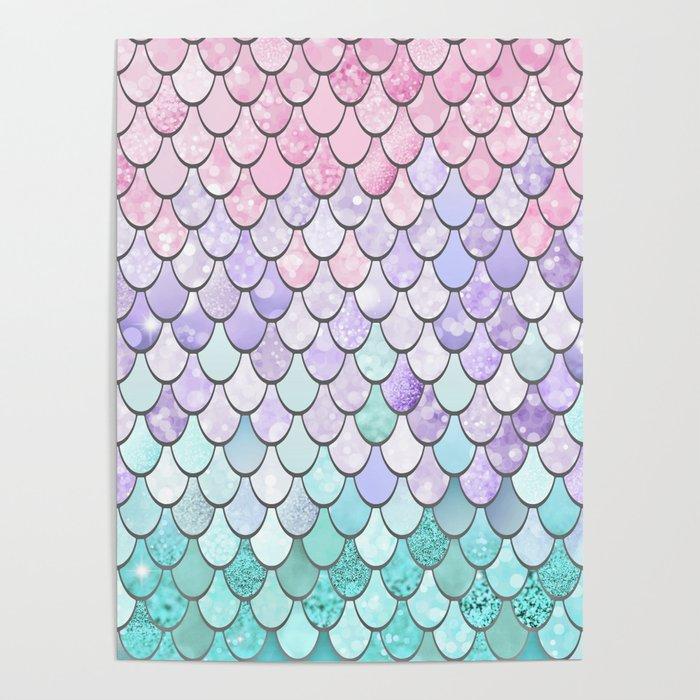 Mermaid Pastel Pink Purple Aqua Teal Poster