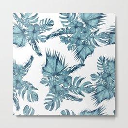 Tropical Palm Leaves Hibiscus Flowers Blue Metal Print