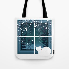 White Kitty Cat Window Watcher Tote Bag