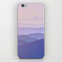 Purple Sunset Rolling Foggy Hills Landscape Photograph iPhone Skin