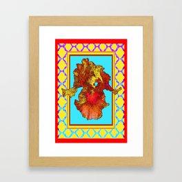 Exotic Golden-Brown Iris Blue-Red Lattice  Pattern Framed Art Print