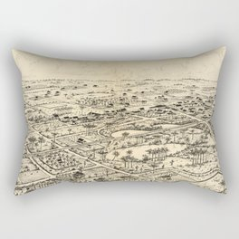 Vintage Pictorial Map of Longwood Florida (1885) Rectangular Pillow
