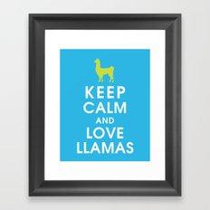 Keep Calm and Love Llamas Framed Art Print