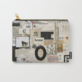 Black and White Vintage Ephemera Collage Carry-All Pouch