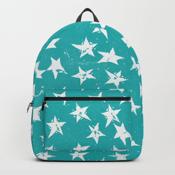 Linocut Stars - Verdigris & White Backpack