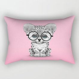Cute Snow Leopard Cub Wearing Glasses on Pink Rectangular Pillow