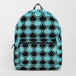 Mermaid Scales Blue Turquoise Teal on Black Backpack