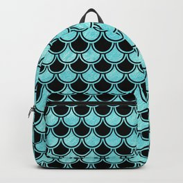 Mermaid Scales Blue Turquoise Teal on Black Backpack