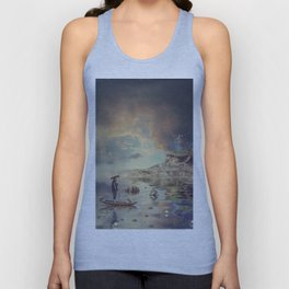 Chinese boat in the mist Unisex Tank Top