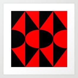 Geometry # 2: Balck and Red Art Print