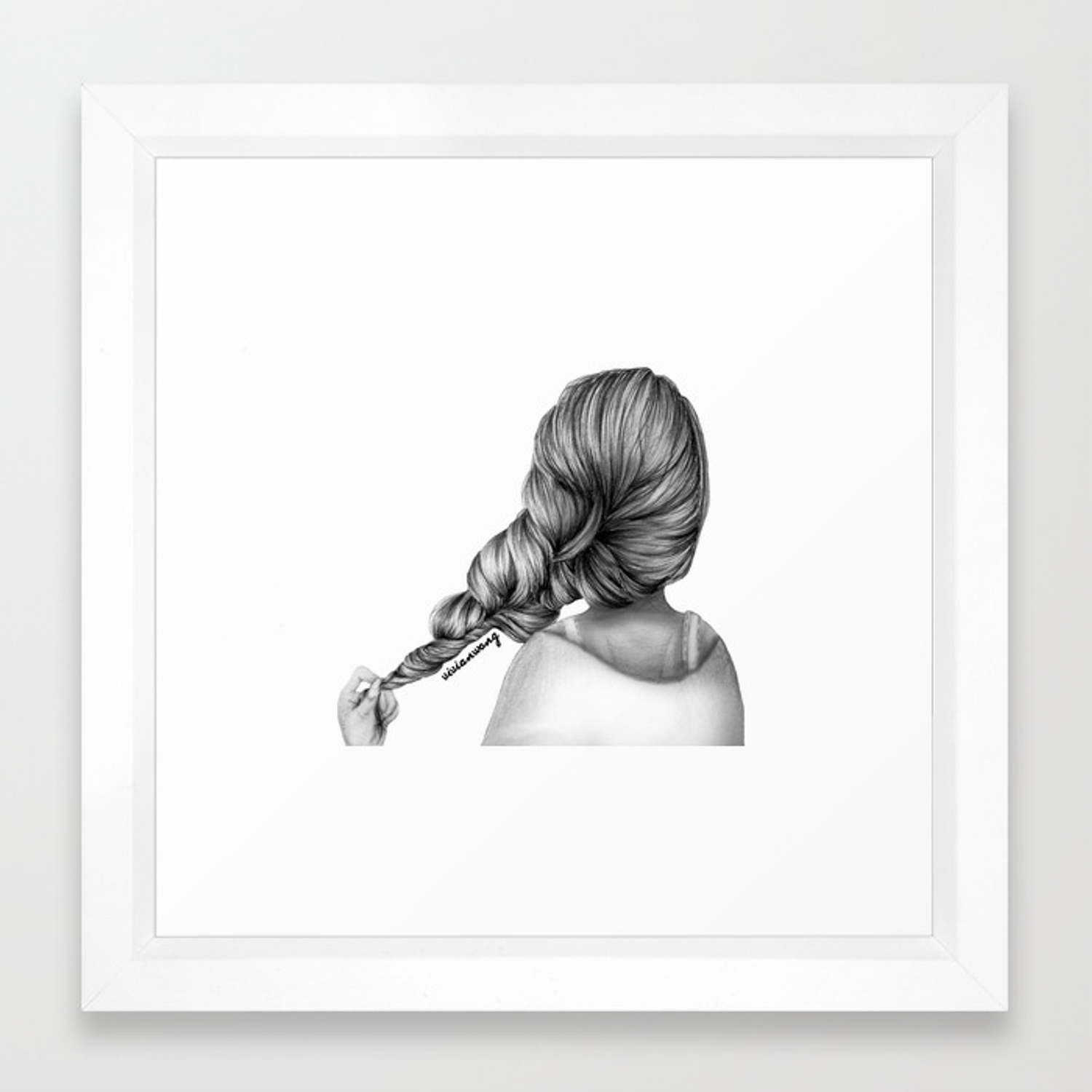 Girl holding hair braid pencil drawing framed art print