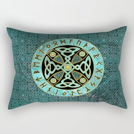 Decorative Celtic Cross  - and Runes alphabet Rectangular Pillow