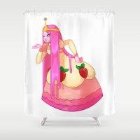 princess bubblegum Shower Curtains featuring Princess Bubblegum by Parapoozle