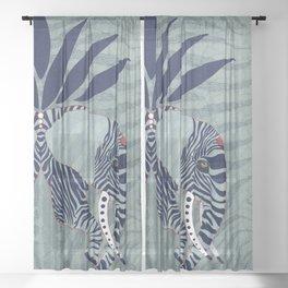 Zebra Elephant in blue Sheer Curtain