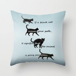 Black cat crossing, v.2 Throw Pillow