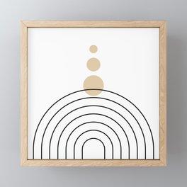 Mid Century Modern Geometric 35 (Rainbow and Rain, Black and Beige) Framed Mini Art Print