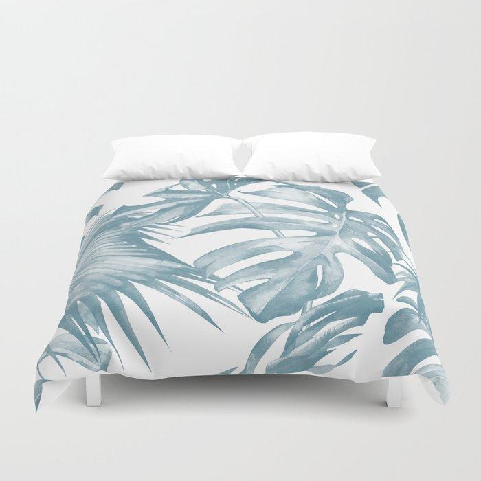 Island Dream Teal Blue Leaves Bettbezug