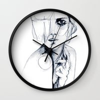 bruce springsteen Wall Clocks featuring Sketch V by Holly Sharpe