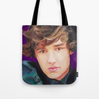liam payne Tote Bags featuring Liam Payne  by Tune In Apparel