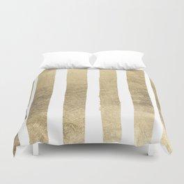 Elegant geometrical gold foil stripes motif Duvet Cover