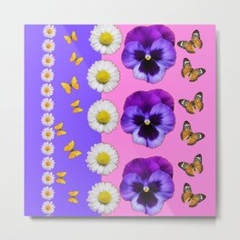 PINK-LILAC & PURPLE PANSY DAISY SPRING FLOWERS Metal Print