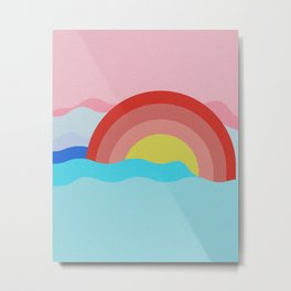 Sunset on the Ocean Illustration Art Print Metal Print