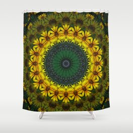 Large Yellow Wildflower Kaleidoscope Art 4 Shower Curtain