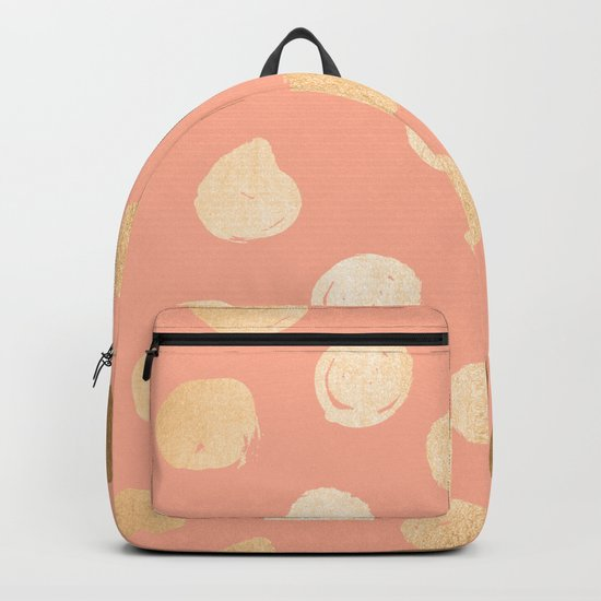 Sweet Life Polka Dots Peach Coral + Orange Sherbet Shimmer Backpack