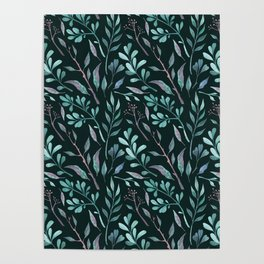 Branches with leaves on dark background Poster