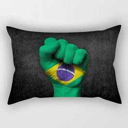 Brazilian Flag on a Raised Clenched Fist Rectangular Pillow